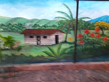 A bit of local art representing a coffee plantation