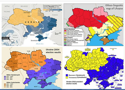 Map, Ukraine, 4 maps (click for larger in new window)